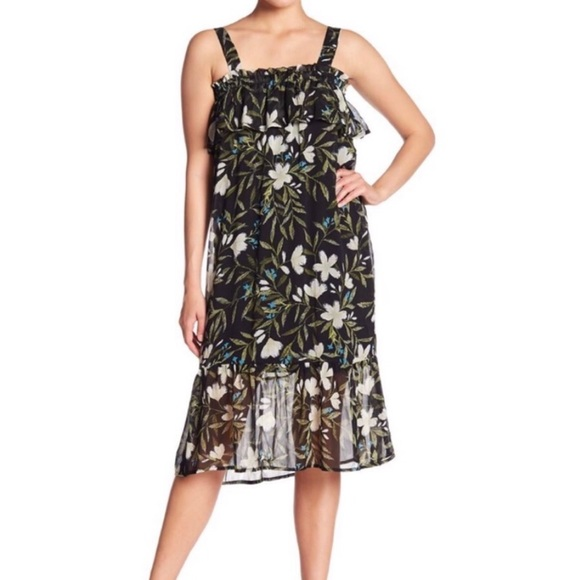 0e774078f3b Bobeau Tropical Print Chiffon Dress